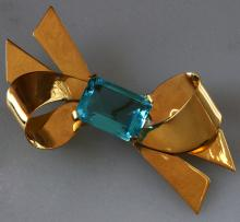Art Deco Vintage Topaz color stone Silver Bow Ribbon shape pin brooch, c 1940