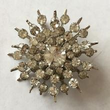 Vintage prong set round white rhinestones brooch / pin, no hallmarks