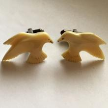 Sterling silver and DOVE shape carved stone cufflinks