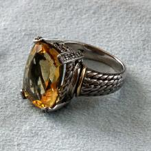 Sterling silver 925 & 14k yellow gold cushion shape citrine diamond ring. Size 7
