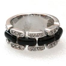 Sterling silver 925 round faceted white CZ with black onyx ring size 6 3/4