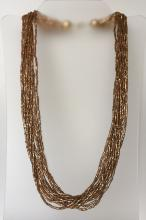 Gold color tube shape micro beads multi strands necklace with gold plated cups and lobster claw clasp