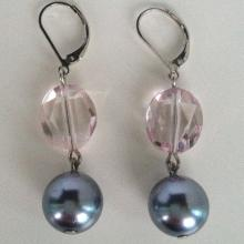 Black round Tahitian faux pearl dangling  earrings with pale pink oval shape faceted crystal and lever back clasp
