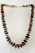 Genuine stones free shape graduated size beads and round gold plated beads necklace