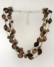 Free shape brown MURANO glass type beads multi strand necklace with silver tone lobster claw clasp