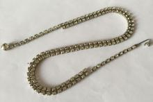 Vintage silver tone prongs set white round rhinestones 2 lines necklace, chocker