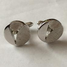 Vintage silver tone round textured cufflinks with faux pearls, signed SWANK