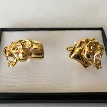 2 different Panthers head cufflinks Sterling silver 925 GP nice gallery