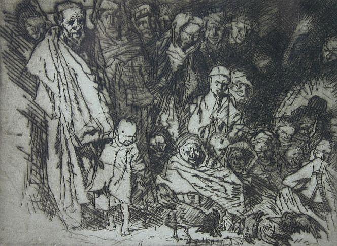 SIR FRANK BRANGWYN etching; Arabian figures,