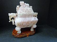 Chinese Rose Quartz Lidded Urn