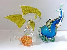 Three Pieces Stylized Mid-Century Murano Glass