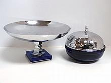 Two Deco Blue Glass/Chrome Serving Pieces
