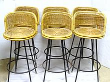 Set of Six Wicker Bar Stools