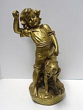 Large Statue of Boy with Dog