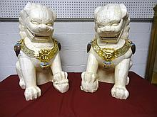 Pair Monumental Carved Bone Foo Dogs