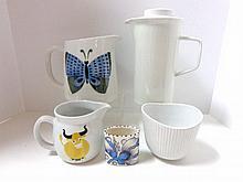 Five Pieces European Art Pottery