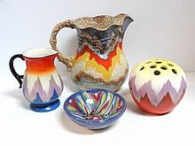 Four Pieces Czech Art Pottery