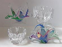 Two Murano Free Form Bowls and Pair Orrefors Crystal Bowls