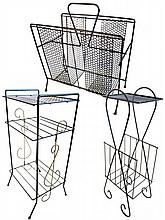 Three Mid-Century Wire and Mesh Magazine Racks