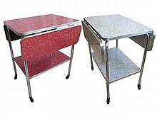 Pair Mid-Century Formica Drop-leaf Serving Carts