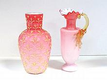 Pink Satin Glass Vase and Pitcher