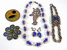 Sterling and Glass Costume Jewelry