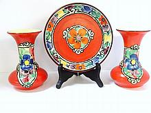 Three Piece Set Czech Pottery