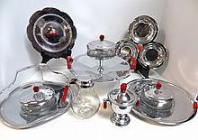 Group Art Deco Chrome Serving Pieces