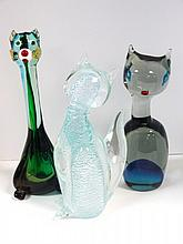 Three Mid-Century Murano Cats