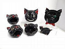 Shafford Style  Black Cat Ashtrays
