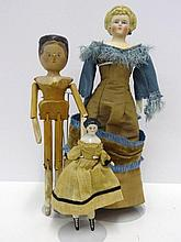 China Head Doll, Peg Wooden, & Parian Doll