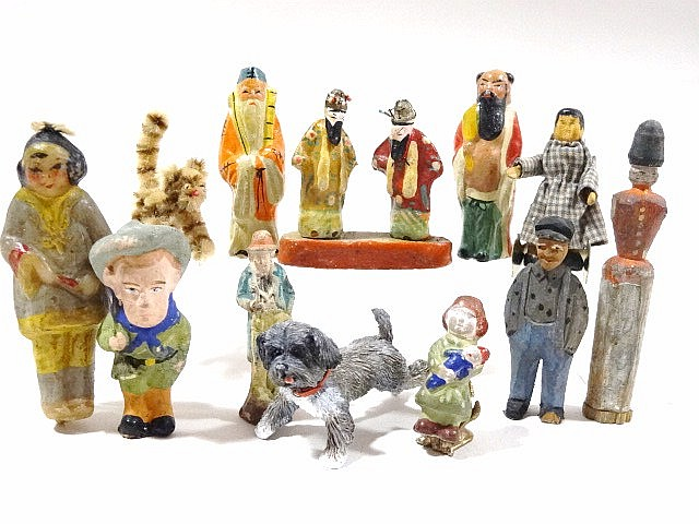 Miniature Wooden and Chinese Figures