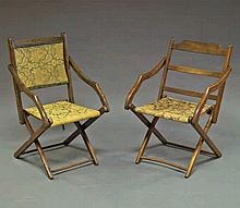 A pair of mahogany folding chairs, late 19th centu