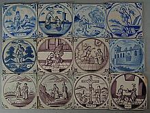 A collection of thirty seven Dutch Delft tiles, mo