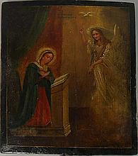 A Russian icon depicting the Annunciation, late 19