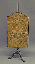 A 19th century tapestry fire screen, the pole with