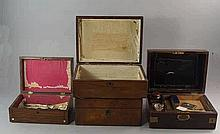 Four various wooden boxes, 19th century, in mahoga