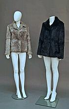 A coney fur jacket, together with a fox fur pelt s