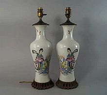 A pair of Chinese porcelain vases, 20th century, m