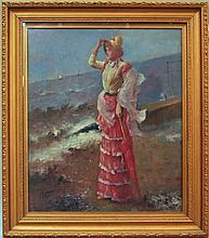 British School, late 20th century- Elegant lady st