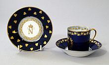 A Napoleonic Sevres saucer, together with a Louis