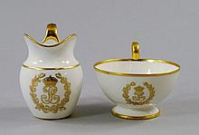 A Sevres jug and handled bowl, 19th century,