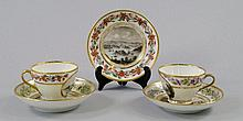 Three le Courteille Cabinet cups and saucers,