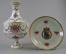 A Samson Armorial vase and dish, in the Chinese