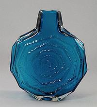 A Whitefriars Kingfisher Blue banjo vase, 20th