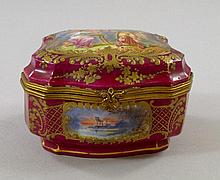 A Continental porcelain box, 19th century, of
