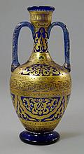An Italian Murano glass twin handled vase,