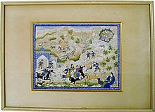 A Persian painting of horsemen in a rural