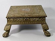 An Indian brass and wood square stand, 19th