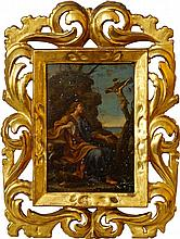 Florentine School, late 17th century- St Philip with the Crucifixion; oil on copper, in an 18th cent